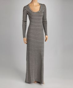 Take a look at this Charcoal & Cream Stripe Maxi Dress on zulily today!