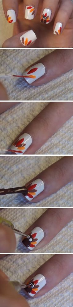Turkey Feathers | Cute Thanksgiving Nail Art Designs for Beginners