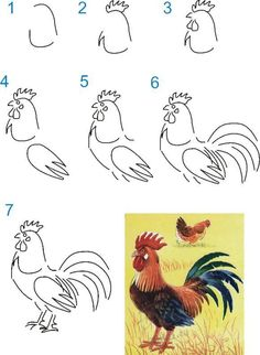 easy drawing lessons for kids – crafts ideas – crafts for kids Gr. easy drawing lessons for kids – crafts ideas – crafts for kids Rooster Painting, Rooster Art, Chicken Painting, Chicken Art, Chicken Drawing, Drawing Lessons For Kids, Art Lessons, Drawing Ideas, Learn To Paint