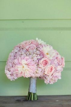 Sweet Wedding Bouquet Comprised Of: Pastel Lavender Hydrangea, Lavender & Soft Pink Roses, Pink Gerbera Daisies, White/Yellow Daisies, Hand Tied With Silver Ribbon