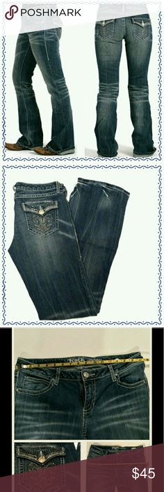 Rock 47 Jeans Rock 47 Wrangler jeans with Fleur-de-lis pockets with whip stitching, ultra low rise, rhinestone and stud accents on back pockets. Washed and distressed look. Inseam approx. 35'   These are great jeans that are a re-posh because unfortunately they did not fit me so just tryin to get my money back. Great condition so you can rock them out in whatever style you like, be it country girl or rocker chick these are the ones. Rock 47 by Wrangler  Jeans Boot Cut