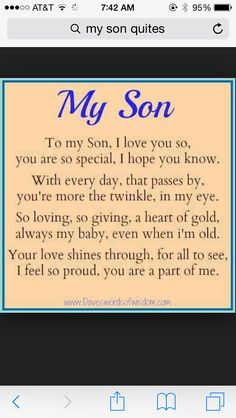 18 Best Son Quotes From Mom Images Thoughts Sons Love