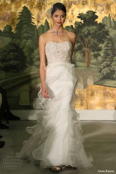 anne barge spring 2014 acacia strapless wedding dress ruffle skirt