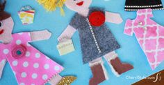 DIY felt dress up dolls & accessories with printable templates.  these are flat dolls