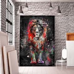 great from each other canvas painting diy, chalk paint furniture, back painting, chalked paint, watercolor ideas. Tableau Pop Art, Lion Painting, Graffiti Murals, Lion Art, Canvas Pictures, Wall Pictures, Canvas Art, Art Prints, Wall Art