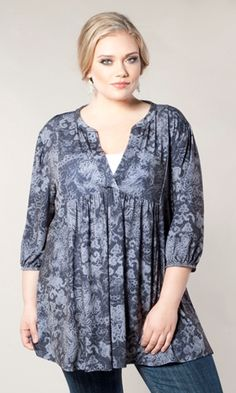 An easy, stylish tunic top in graceful, dark lace print. The Chantilly Tunic is a bohemian-inspired versatile tunic that will become one of your SWAK favorites! $59