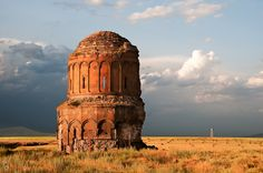 Ani Pemza, Turkey, Church of the Redeemer (ca. 1040) and border tower in Armenia
