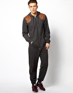 Asos Onesie with Shooting Patches in Black for Men (Charcoal)