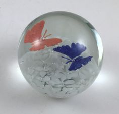 Glass Paperweight, Old South Jersey Art Glass, OSJAG, Vintage Globe, Butterflies, White Flowers, Office Decor, Home Decor by BarnabyGlenVintage on Etsy