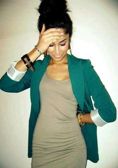 Green blaser and dress