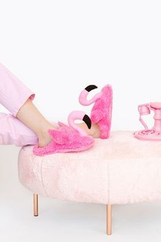 DIY Pink Flamingo Slippers