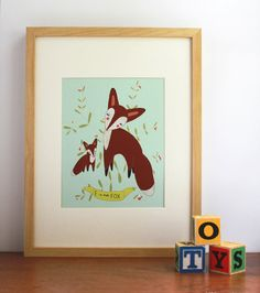 F is for Fox Alphabet Print Nursery Art Wall Art by Gingiber, $20.00