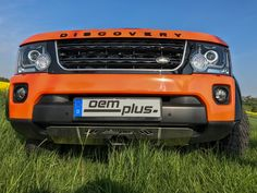 Land Rover Discovery front view with OEMplus skid plate