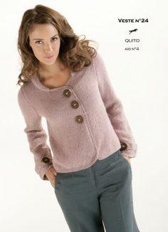Modèle de tricot - Veste femme - Catalogue Cheval Blanc n°13 - Laines utilisées : QUITO