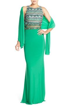 JVN by Jovani Embellished Illusion Gown & Shawl available at #Nordstrom