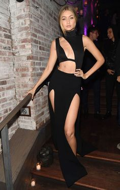 Gigi Hadid in a Sally LaPointe skirt, House of CB bodysuit, Tamara Mellon shoes - See the Sexiest Dresses From the Victoria's Secret After-Party (Gigi! Kendall!)