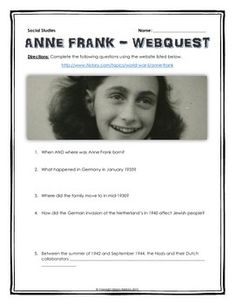 Anne Frank - Webquest with Key (Holocaust) - This 6 page document contains a webquest and teachers key related to the life of Anne Frank. It contains 20 questions from the history.com website. Your students will learn about the life of Anne Frank during the Holocaust. It covers all of the major events in Anne Frank's life. Specifically, your students will learn about how the events of the Holocaust effected Anne Frank and her family, as well as the importance of her writing!