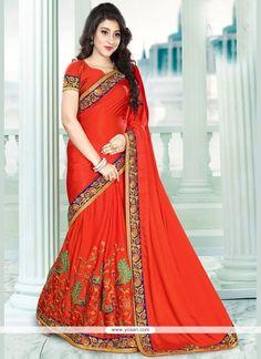 Amazing Embroidered Work Red Satin Classic Designer Saree Model: YOSAR11890