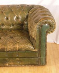 Antique Green Leather Chesterfield Sofa 4393A