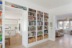I love built-in shelves, esp around an entryway. Storage Shelves, Shelving, Single Storey Extension, Bookshelves Built In, Bookcases, Lounge, Living Room, Interior Design, Inspiration