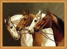 4 Pferde links schauend Schimmel Fuchs auf Leinwand 46L - Billerantik