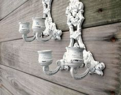 Vintage / Home decor / Candle holder / shabby chic French cottage white / country home decor / set of two. $42.00, via Etsy.