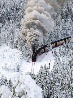 Beautiful photo of a steam engine train in the snow. #Trains