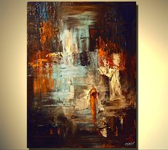 """Original Palette Knife Abstract Painting Modern Art on Canvas by Osnat 40""""x30"""". $760.00, via Etsy."""