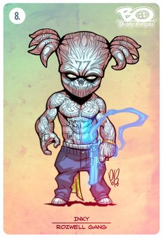 ROZWELL GANG - INKY. Thousands years ago he brought his art to Aztecs... Now he can damage you by his deadly tattoos! Villains of G universe series continues... #tattoo #plushygangsta #aliens #comics