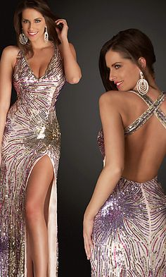 Long Sexy Sequin Halter Prom Dress by Cassandra Stone