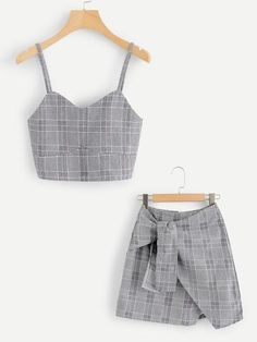 Shop Checked Cami Top With Asymmetrical Hem Skirt online. ROMWE offers Checked Cami Top With Asymmetrical Hem Skirt & more to fit your fashionable needs. Teen Fashion Outfits, Cute Fashion, Look Fashion, Kids Outfits, Fashion Styles, Cami Tops, Cute Summer Outfits, Cute Casual Outfits, Stylish Outfits