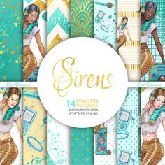 Sirens Digital Paper by KrisDreams on Mermaid Clipart, Whimsical Fashion, Pattern Images, Journal Covers, Happy Planner, Pattern Paper, Art Day, Planner Stickers, Scrapbook Paper