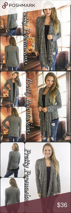 """NWT Open Front Draped Marled Knit Cardigan NWT Open Front Draped Marled Knit Cardigan  Available in S, M, L Measurements taken from a small  Length: 39"""" Bust: 38"""" Waist: 38""""  Rayon/Spandex/Poly blend  Features  • cascading/long draped sides • long sleeves  • open front • light marled knit • relaxed, easy fit  * Also available in different color in separate listing, as seen in last photo  Bundle discounts available  No pp or trades  Item # 1/109280360RGMK marled knit Pretty Persuasions…"""