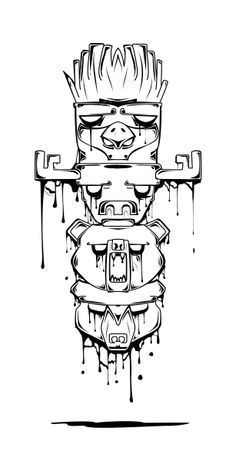 my first design, totem pole [vives] very slimy effect. i like its simple but… Arte Complexa, Totem Tattoo, Arte Black, Tiki Totem, Desenho Tattoo, Graffiti Art, Cool Drawings, Zombie Drawings, Doodle Art