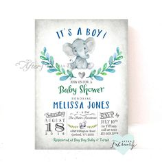 Elephant Baby Shower Invitation Boy Baby Shower Invitation Baby Boy Elephant Shower Invites // Printable OR Printed No.634BOY by AfterFebruary on Etsy https://www.etsy.com/listing/465671851/elephant-baby-shower-invitation-boy-baby