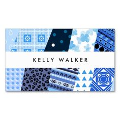 Blue Patchwork Patterned Business Card Patterns Personal Branding Cards Printed Materials