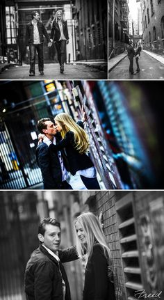 Freed Photography - DC Weddings and Events NYC Engagement Session BW and graffiti