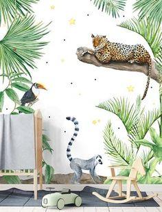 Jungle print behang | Meubels blank hout of underlayment | Stoere peuter- of kinderkamer | Kidsroom