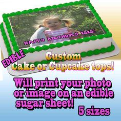 I print your PHOTO edible cake topper or cupcakes  Birthday  Sugar icing frosting sheet picture personaiized sticker custom photograph image by Pictures4Cakes on Etsy https://www.etsy.com/listing/167914244/i-print-your-photo-edible-cake-topper-or
