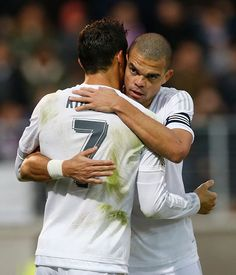 Cristiano Ronaldo and Pepe of Real Madrid celebrate after scoring during the La Liga match between SD Eibar and Real Madrid at Ipurua Municipal...