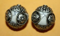 Nepal Tibetan White Resin Beads 2 beads Nepalese by goldenlines
