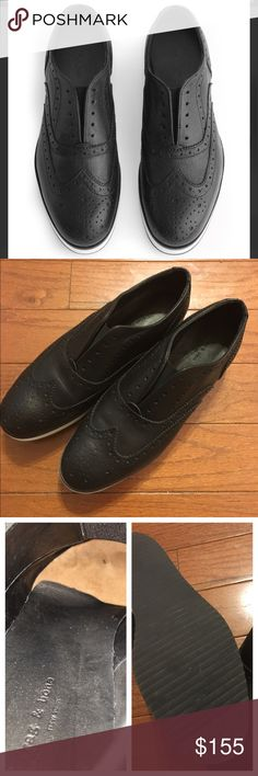 NWOT Rag & Bone Women's Black Meli Brogue NWOT Rag & Bone Women's Black Meli Brogue. Never worn. Italian lamb leather and leather lining. Tennis shoe style bottom making them super comfortable to walk in. Slip on style with elastic gore.                                                Disclaimer: one of the inserts has curled a little. (See pic 3). Size 37 1/2 equals 7 1/2 in US size.   Make an offer! rag & bone Shoes