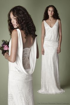 vintage wedding dress company 1920s style bridal gown dropped waist beaded lace panel back