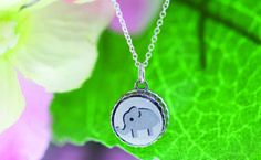 Gray elephant, interchangeable necklace, charm necklace. Top only pendant sold separately,girls pendant
