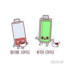 """Adorably Funny """"Before and After"""" Illustrations That Are Oddly Relatable - At work - Cute Cartoon Drawings by Nacho Diaz Arjona - Cute Puns, Funny Puns, Funny Cartoons, Funny Art, Funny Quotes, Hilarious, Funny Humor, Funny Doodles, Cute Doodles"""