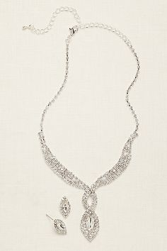 Woven Pave Crystal Necklace and Earring Set NK3080