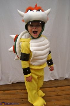 Karly: I made this costume completely from scratch for my son, Henry. He is obsessed with the villain, Bowser (aka King Koopa) from the Mario Brothers video games. Bowser Halloween Costume, Bowser Costume, Halloween Party, Halloween Costume Contest, Halloween 2017, Halloween Nails, Halloween Makeup, Halloween Crafts, Halloween Decorations