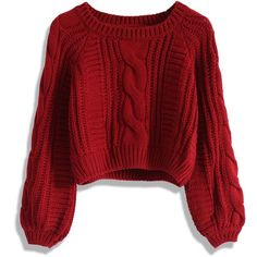 Chicwish Cable Knit Crop Sweater in Wine (2.965 RUB) ❤ liked on Polyvore featuring tops, sweaters, shirts, crop tops, red, cable sweater, puff sleeve shirt, raglan shirts, red top and acrylic sweater
