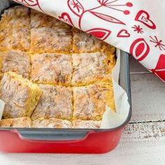 Juustoruudut Bread Recipes, Cooking Recipes, Savory Pastry, Scones, Food Inspiration, Banana Bread, Good Food, Food And Drink, Rolls