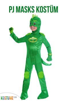Das lizenzierte und qualitativ hochwertige PJ Masks Gekko Kinderkostüm Deluxe ist eine tolle Kostümierung für diverse Kostümveranstaltungen. Es besteht aus einem leichten Overall mit integriertem Schwanz sowie der passenden Haube mit Maske. Abrundend sind die grünen Handschuhe. Mit diesem tollen Kostüm, verwandelt sich Ihr Kind in ein Mitglied der PJ Masks und wird zum Hingucker auf der nächsten Kostümfeier. Ideal auch als Gruppenkostüm mit den anderen PJ Masks Kostümen. Batgirl, Catwoman, Pj Masks Kostüm, Overall, Babys, Dinosaur Stuffed Animal, Boy Or Girl, Toddlers, Baby & Toddler